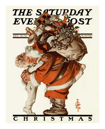 joseph-christian-leyendecker-hug-from-santa-c-1925